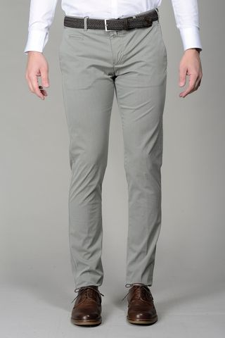 Grey trousers stretch cotton extra slim Angelico