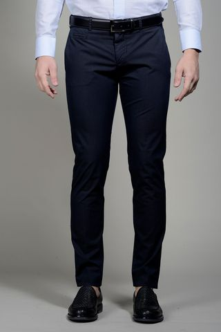 Navy trousers stretch cotton extra slim Angelico