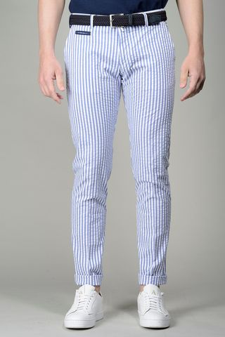 White-blue seersucker trousers slim Angelico