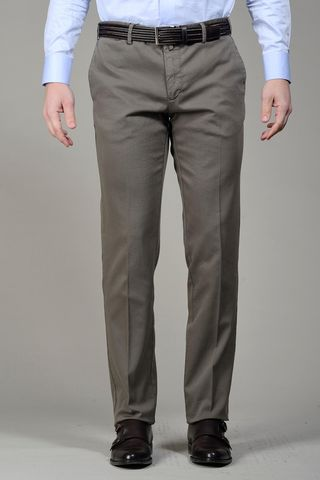 Brown trousers structured cotton Angelico