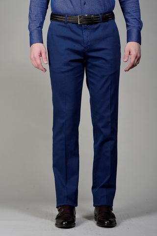 Blue trousers structured cotton Angelico