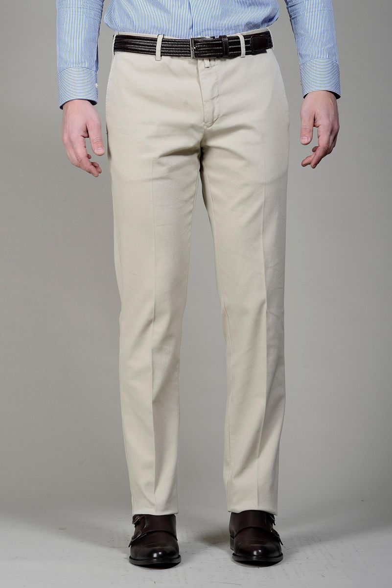 cream trousers structured cotton Angelico
