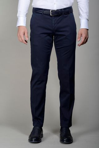 Navy trousers stretch cotton slim Angelico