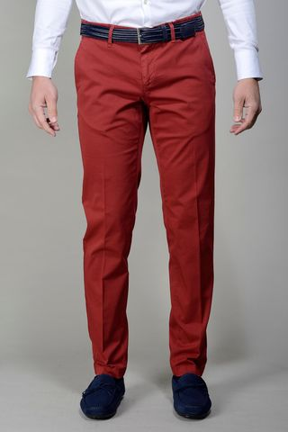 dark red trousers stretch cotton slim Angelico