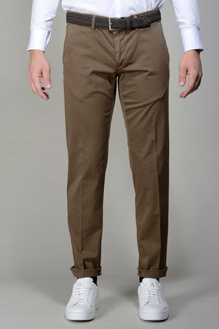 Brown trousers stretch cotton slim Angelico
