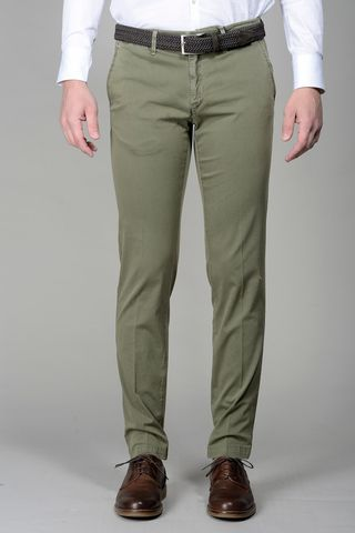 Green trousers stretch cotton slim Angelico