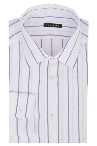 White structured shirt blue stripes slim Angelico
