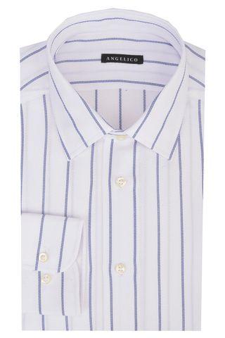 Camicia bianca operata riga blu slim Angelico