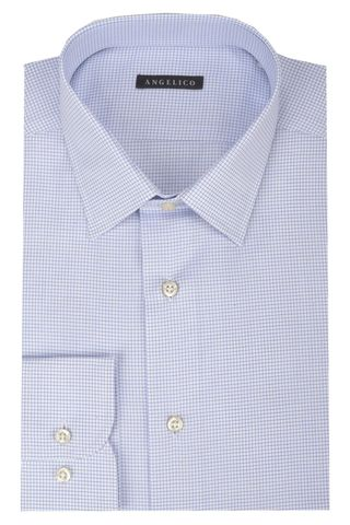 White shirt blue micro-check comfort Angelico