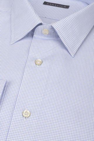Camicia bianca microquadro azzurro comoda Angelico