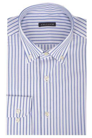 White shirt blue medium stripes BD Angelico
