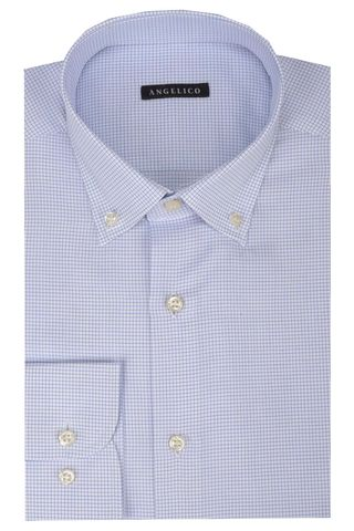 White shirt blue micro-check BD Angelico