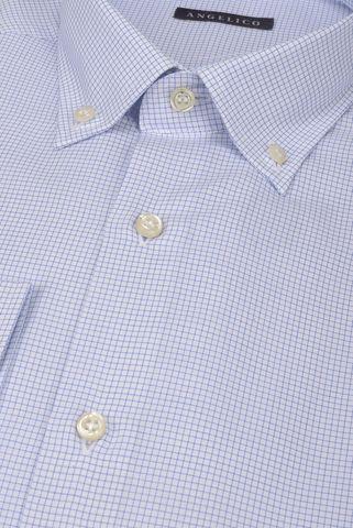Camicia bianca microquadro azzurro BD Angelico