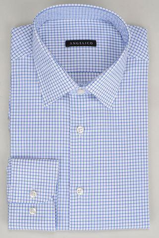 White shirt navy checkered Angelico