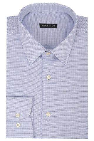 Bluette-white shirt micro-pattern Angelico