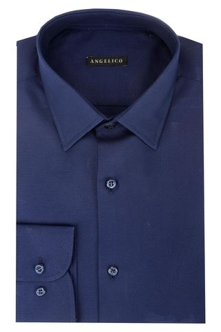 Navy shirt structured cotton Angelico