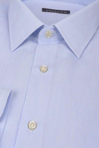 Camicia bianca rigata fine azzurra Angelico