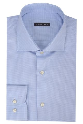 Blue shirt stuctured cotton Angelico