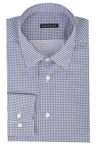 Bue shirt geometrical pattern slim Angelico