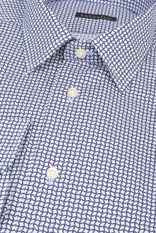 Camicia bianca-blu geometrica slim Angelico