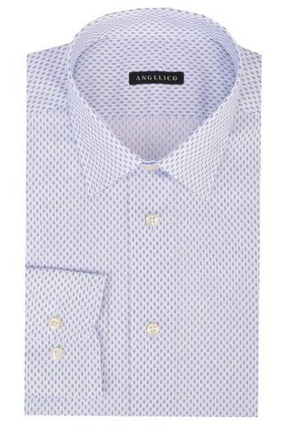 White shirt blue pattern slim Angelico