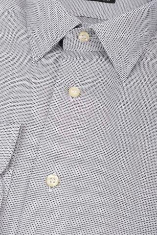 Navy-white shirt micro-pattern slim Angelico