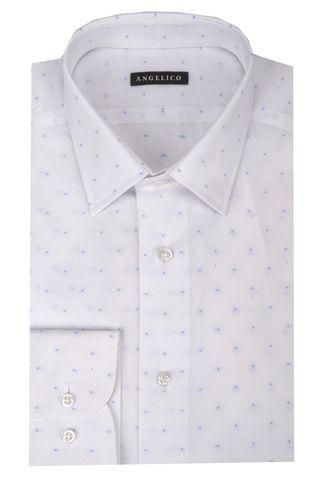 Camicia bianca pois azzurri slim Angelico