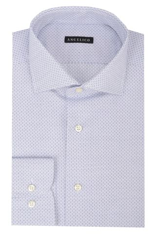 Lighe blue shirt honeycomb pattern slim Angelico