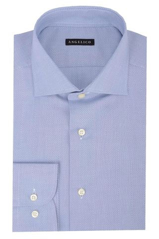 lighe blue shirt diagonal pattern slim Angelico