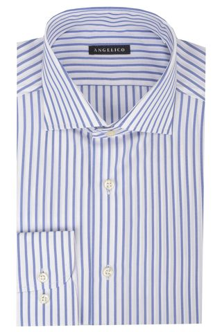 White shirt blue medium stripes slim Angelico