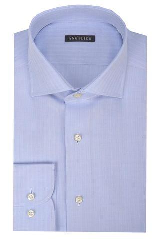 Blue shirt harrigbone pattern slim Angelico