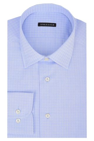 lighe blue shirt puzzle pattern slim Angelico