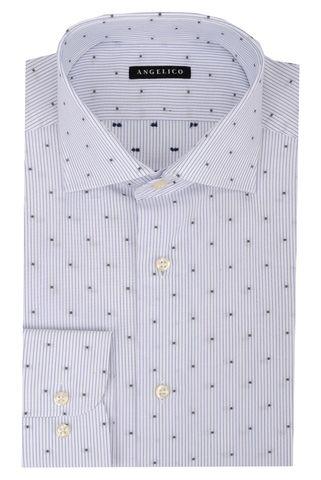 White striped shirt navy polkadots slim Angelico