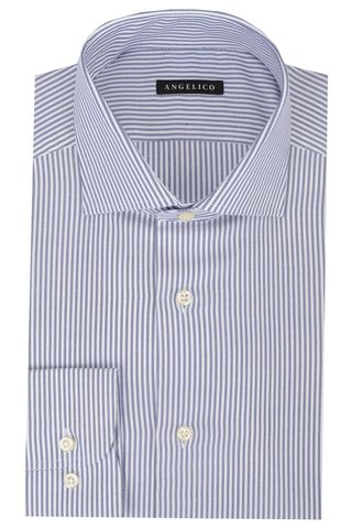 Camicia bianca-blu rigata slim Angelico