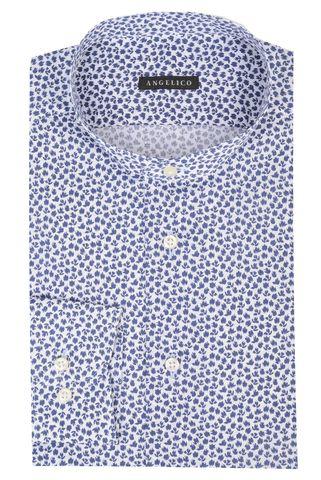 camicia blu coreana fantasia fiori slim Angelico