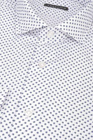 Camicia bianca fiorellini blu slim Angelico
