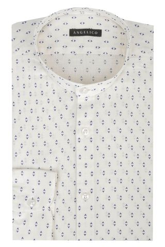 White Korean shirt blue print slim Angelico