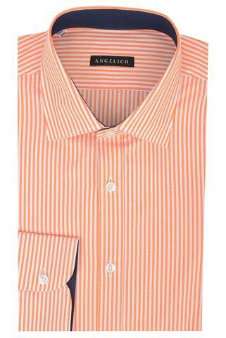 Camicia arancio rigata media Angelico