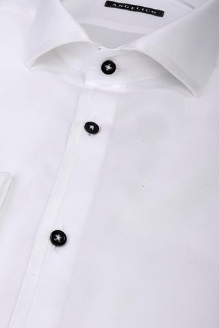 white ceremony shirt blue buttons slim Angelico