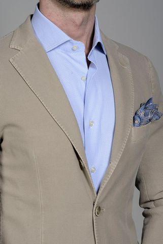 Beige jacket structured cotton slim Angelico