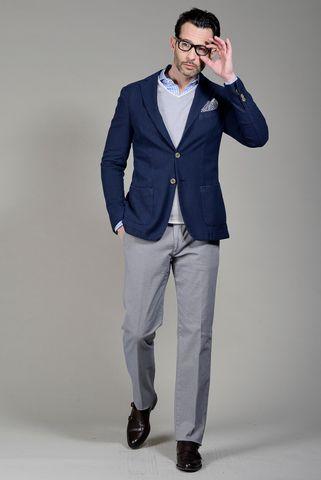 Blue jacket structured cotton slim Angelico
