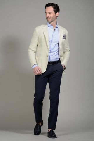 Milk jacket harringbone cotton-linen slim Angelico