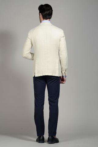 giacca panna resca cotone-lino slim Angelico