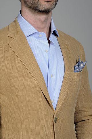 giacca ocra spigata cotone-lino slim Angelico