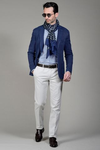 Blue jacket harringbone cotton-linen slim