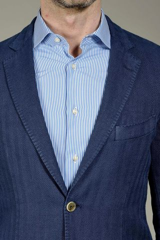 blue jacket harringbone cotton-linen slim Angelico