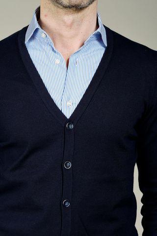 maglia cardigan blu bottoni Angelico