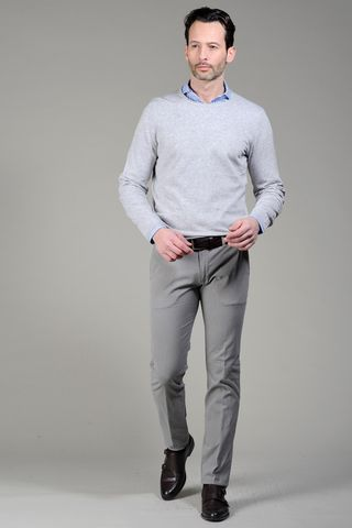 pearl grey pullover slub cotton Angelico