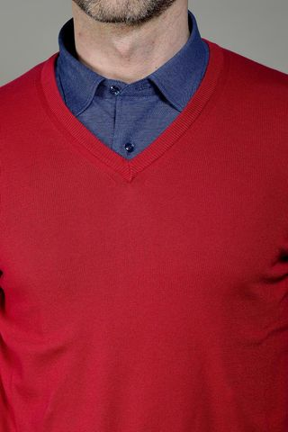 red sweater v-neck Angelico