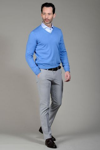 Light blue sweater V-neck